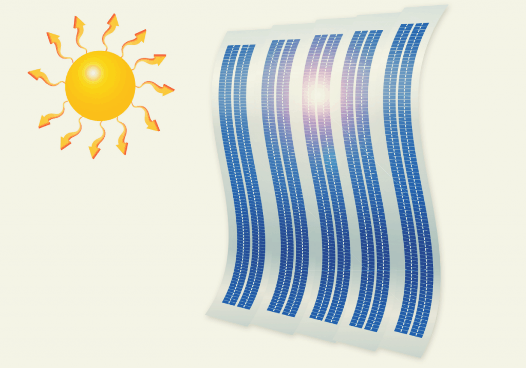 sun and flexible solar panel image