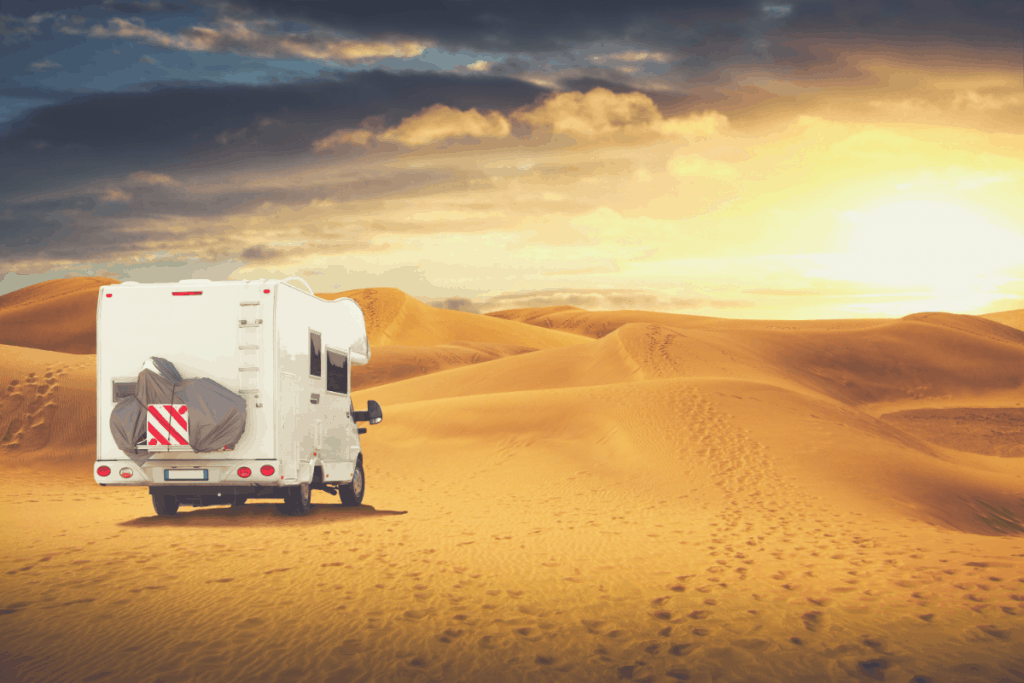 rv driving through the desert