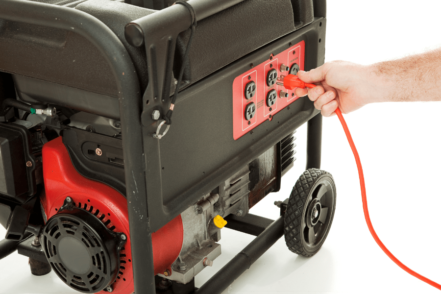 plugging in to portable diesel generator