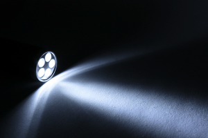 flashlight lighting a room during a blackout