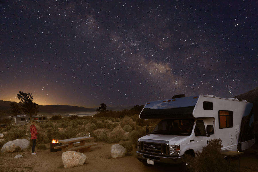 rv camped at night