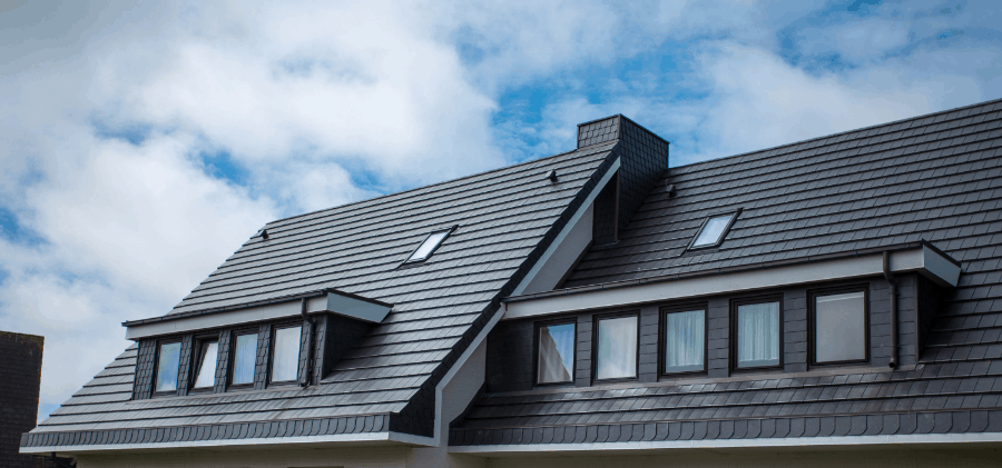 home roof with solar attic fan