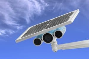 solar powered security camera close up