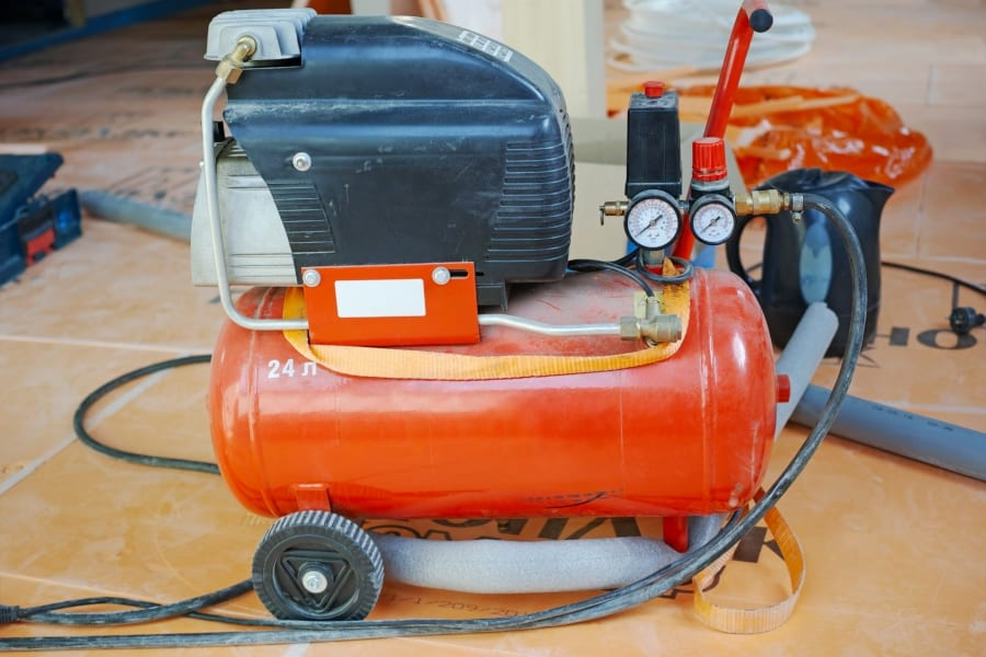 air compressor in worksjop
