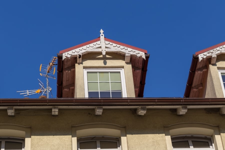 attic antenna installed on home roof