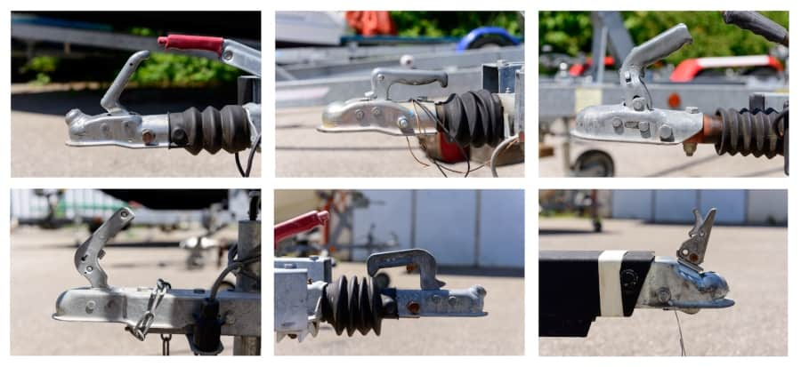 six trailer hitches with locks